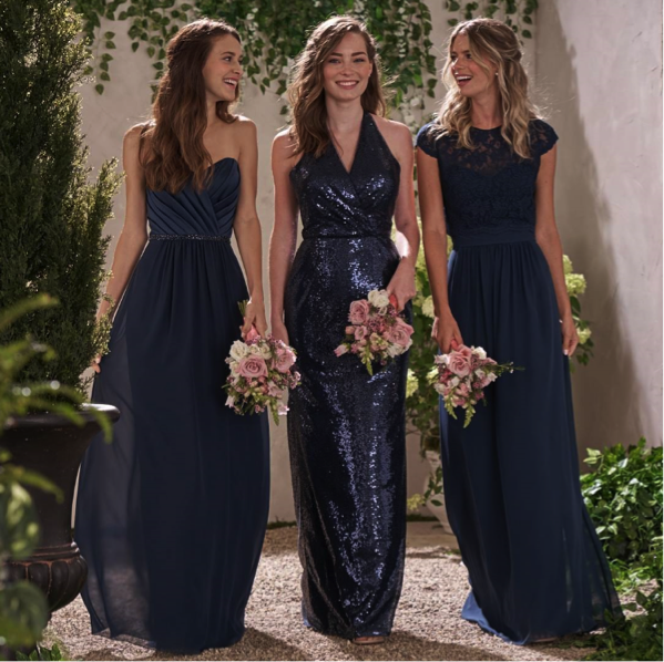 dd2b422542824 Navy blue Long Bridesmaid dresses, sparkly chiffon sequin Bridesmaid  dress,dress for wedding, PD17662 from fitdesigndress