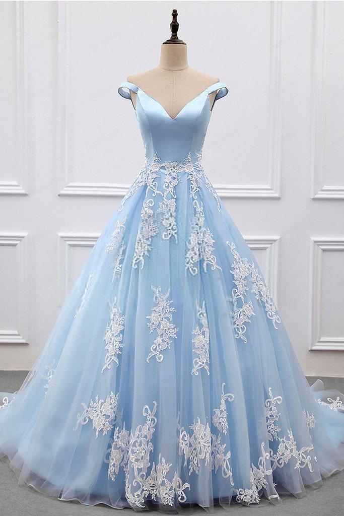 Charming Light Blue Applique 2018 Prom Dresses,Off Shoulder V-neck ...