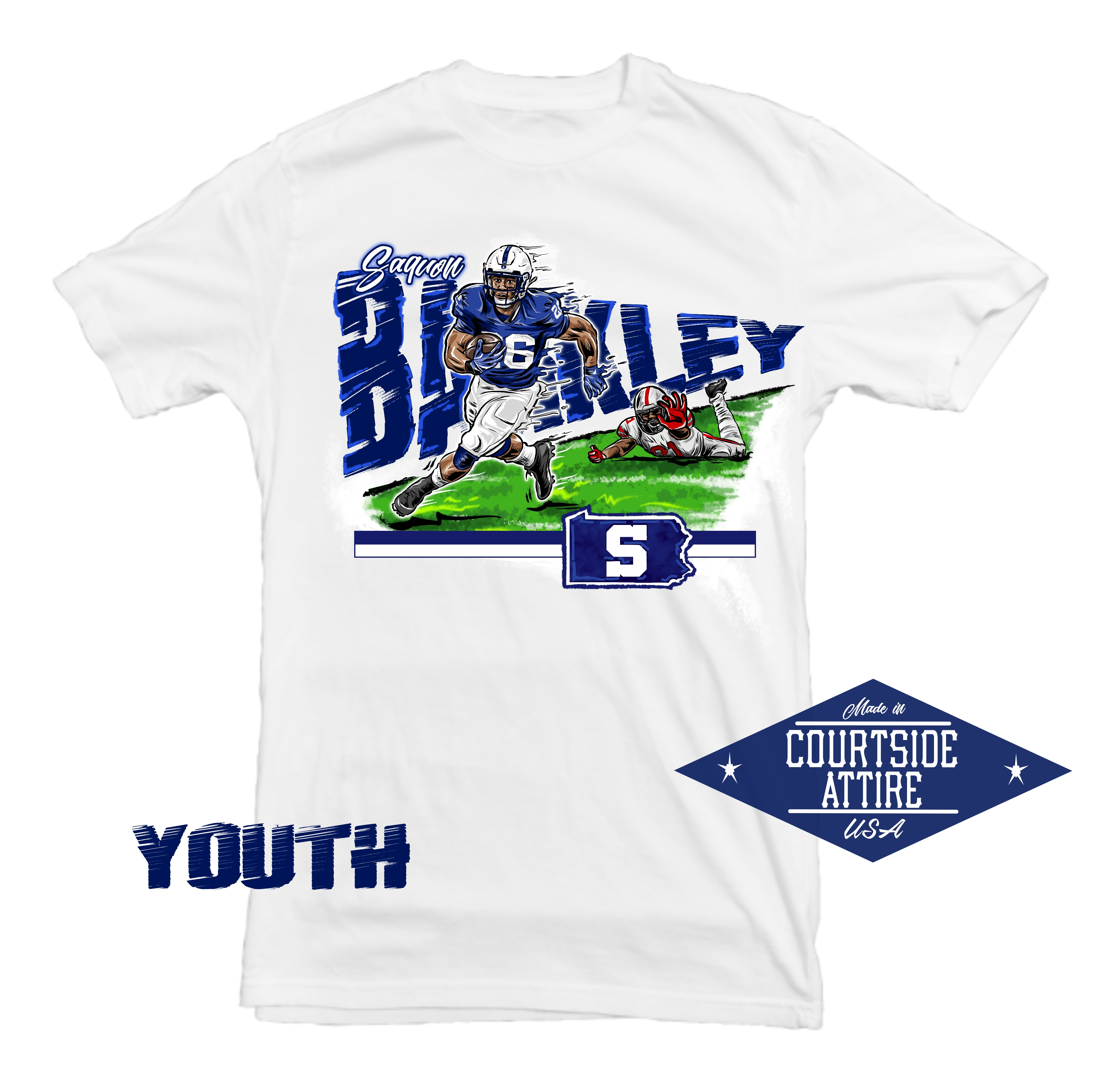 brand new 0d68c f1f9c Kids Saquon Barkley Penn State Shirt Youth sold by Courtside Attire