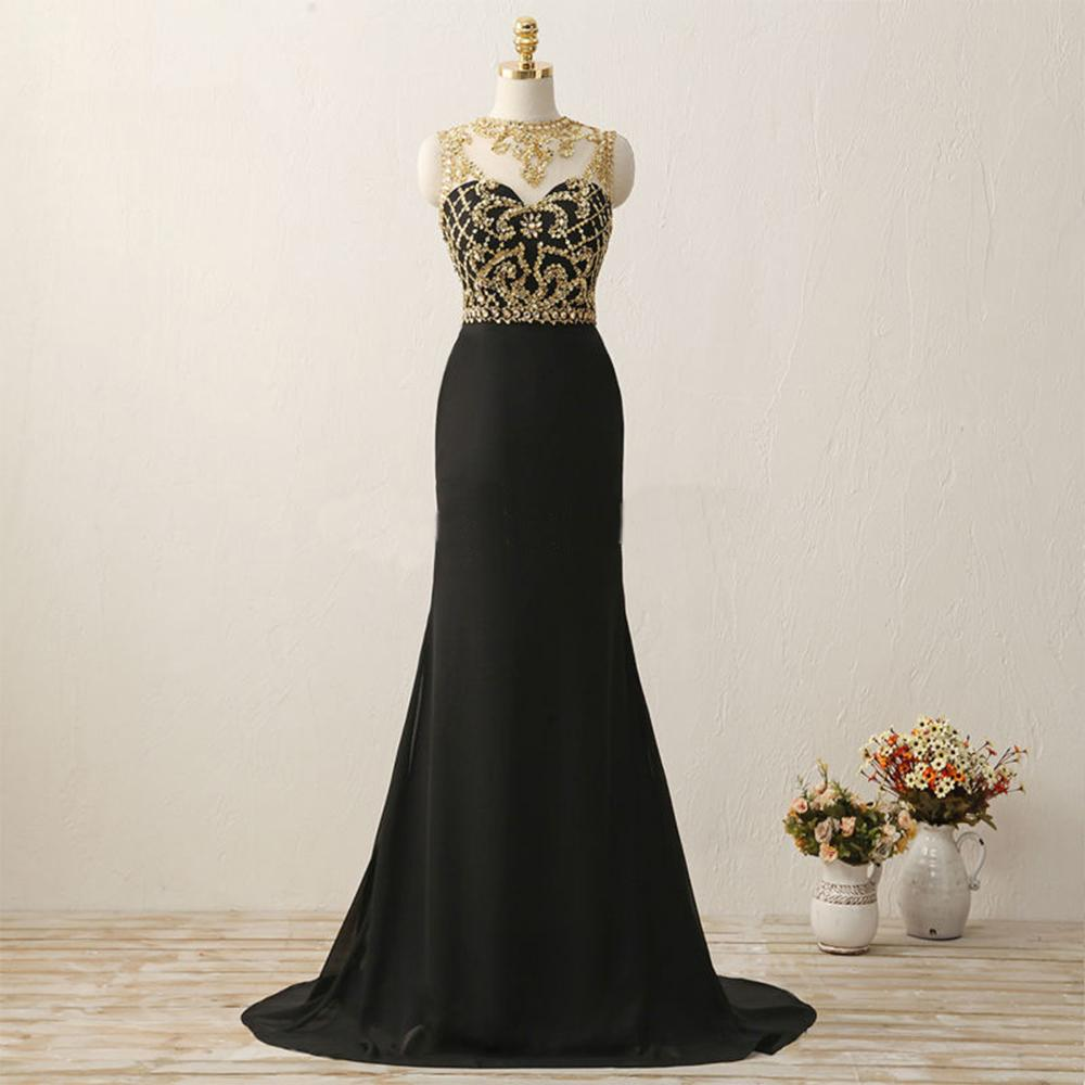 Black Prom Dress with Gold Beaded Classical Prom Dresses, Black ...