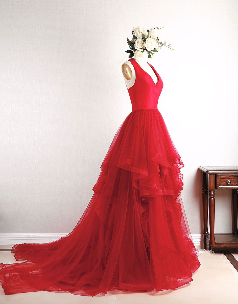 Gorgeous Red Prom Dresses, Red Pretty High Low Prom Dress 2018 ...