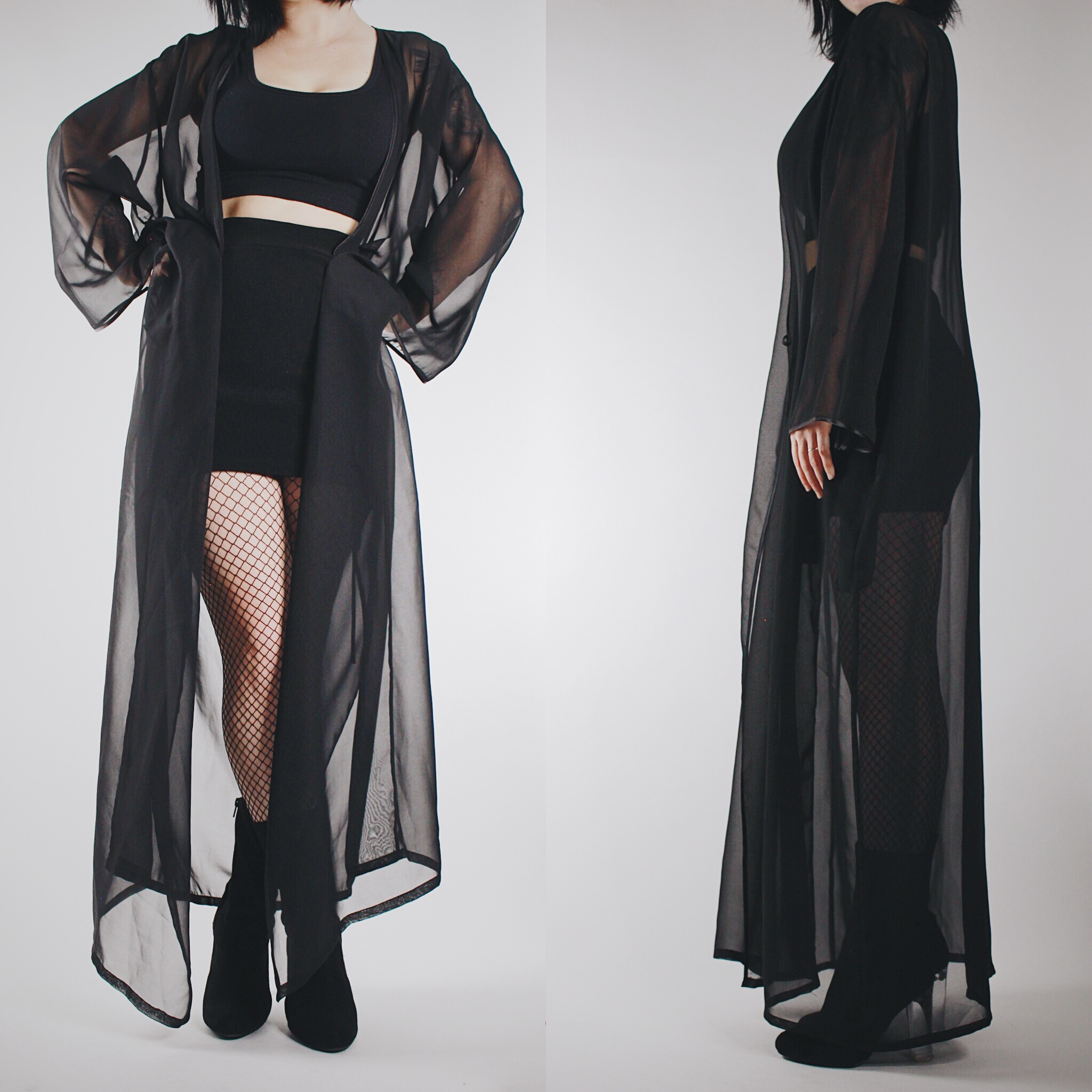 85fb343542d4 ... CLAIMED @skully_mean - Vintage 80s Black Sheer Flowy Multi-Way Dressing  Gown - Thumbnail