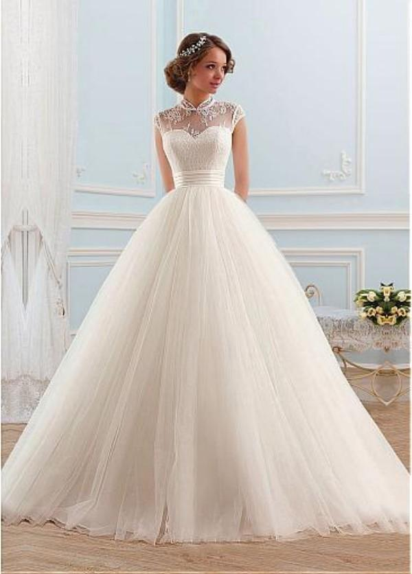 5795610ca032a7 Elegant Ball Gown Wedding Dresses Princess Sheer High Neck Cap ...