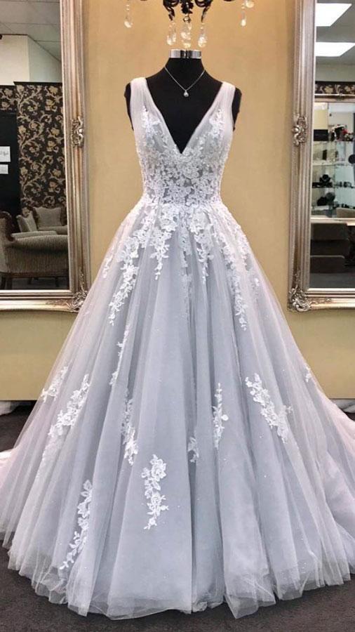 9dea6b148ddba8 Deep V Neck Silver Grey Prom Dresses A Line Lace Appliques ...