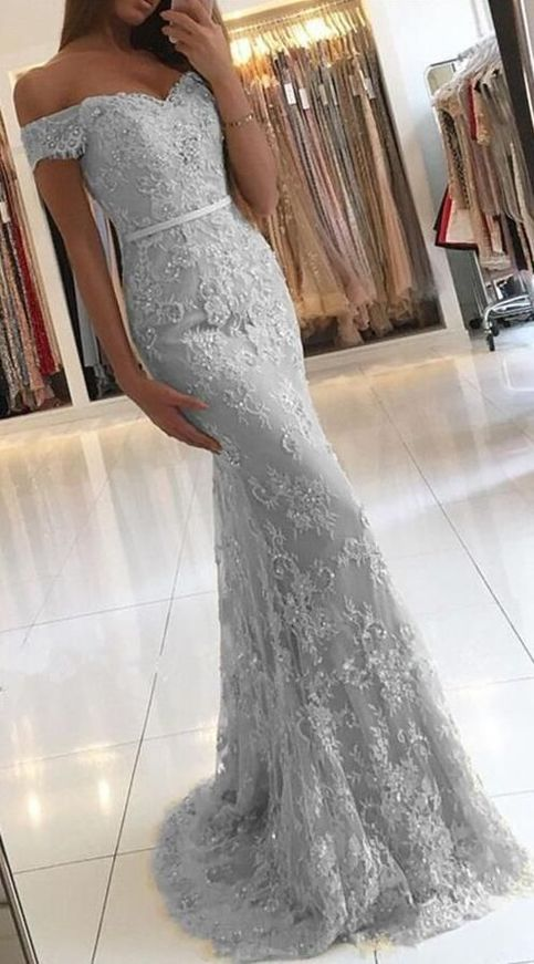 Mermaid Silver Prom Dress 2018 Prom Dresses Evening Gown