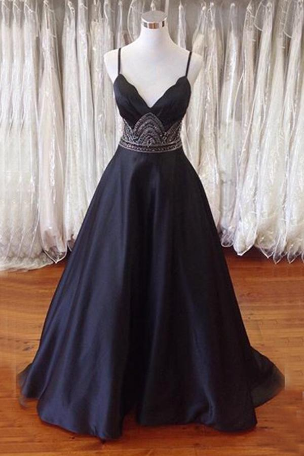 4bba426a620 Elegant A-Line Spaghetti Straps Black Long Prom Evening Dress With Beading