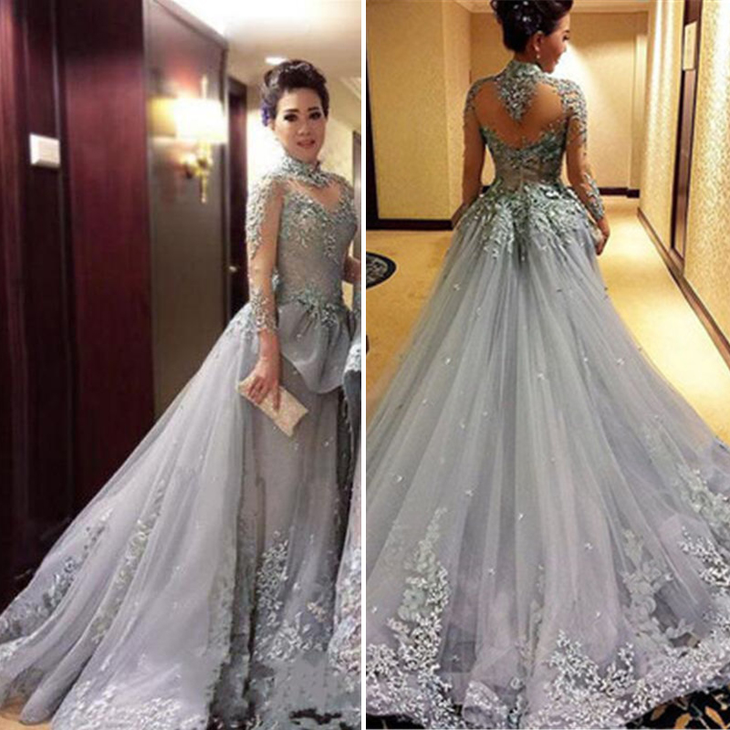 Long Sleeve Lace A Line Illusion prom dresses new style fashion ...