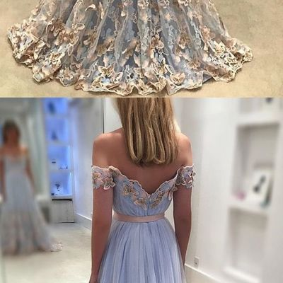 fdf3e570ae07 Elegant Light Blue Tulle Off The Shoulder Evening Gowns Lace Embroidery  Prom Dresses 2018 Butterfly Gowns,184 · DressyBridal · Online Store Powered  by ...