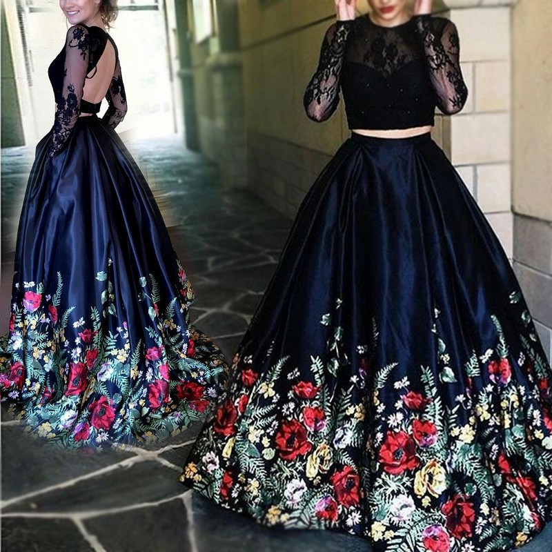 Floral Long Sleeve Prom Dress