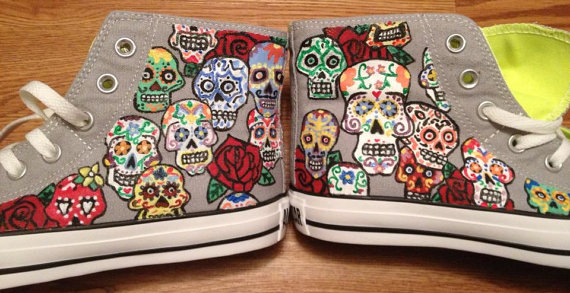 0775c9c831230f Beautiful Day of the Dead Hand Painted Converse Shoes · Candy s Custom MY39