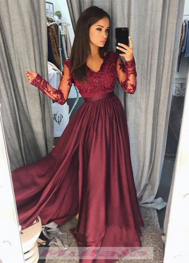 Burgundy Lace Appliques Prom Dresses Long Sleeves A Line Party Gowns ...