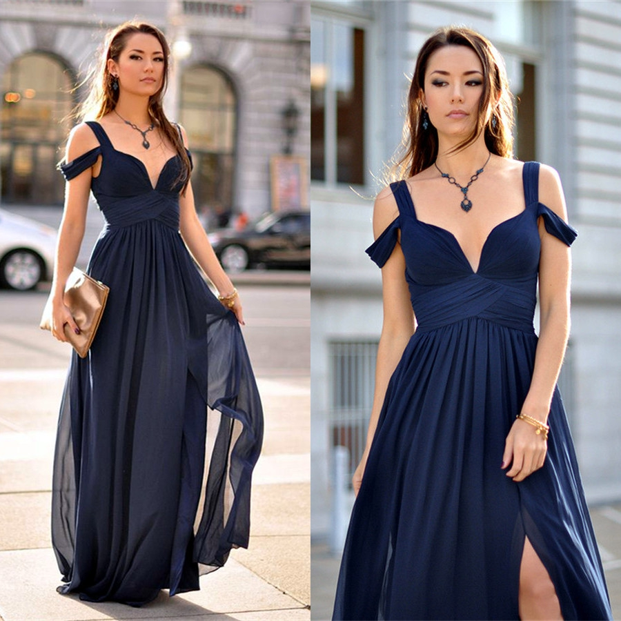 d59470cec5dd Elegant Navy Blue Chiffon Off-The-Shoulder Sweetheart Bridesmaid Dresses  With Side Slit