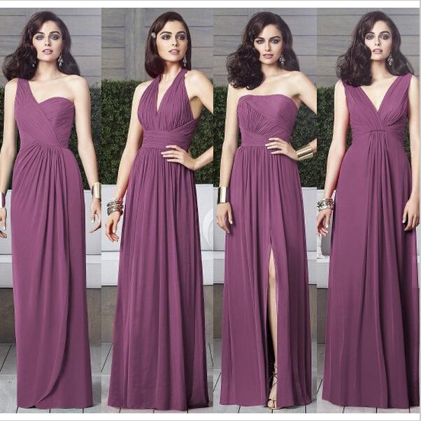 Cheap Chiffon Mismatched Purple Long Bridesmaid Dresses Affordable