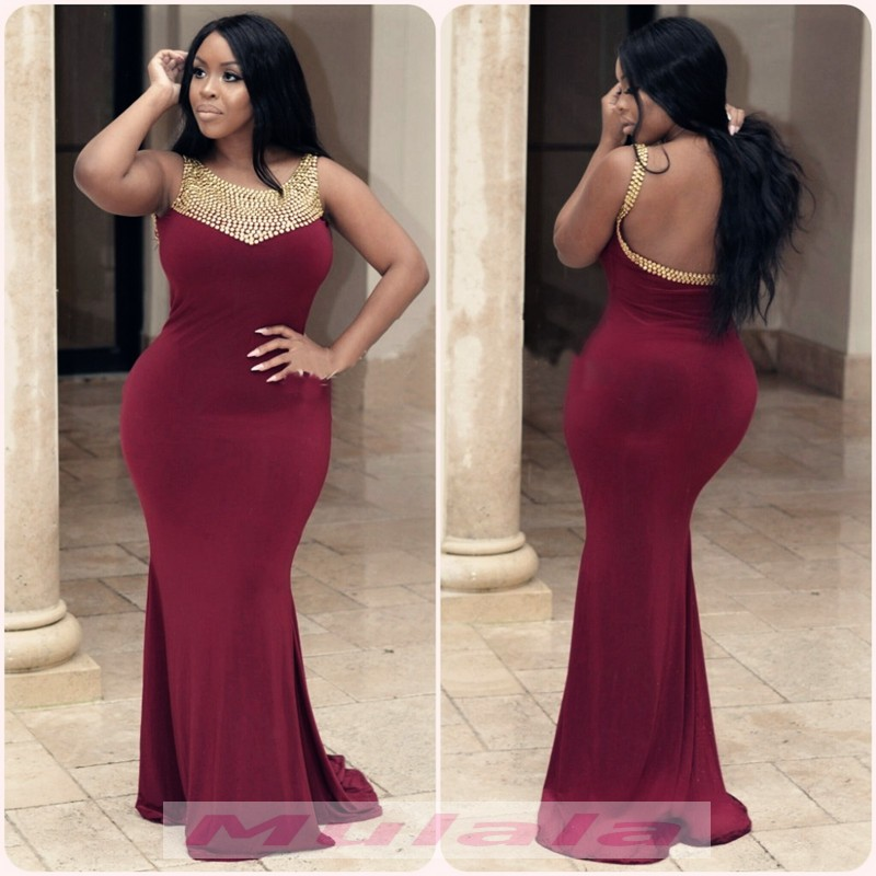 2018 Burgundy Spandex Plus Size Prom Dresses Gold Crystal Beaded ...