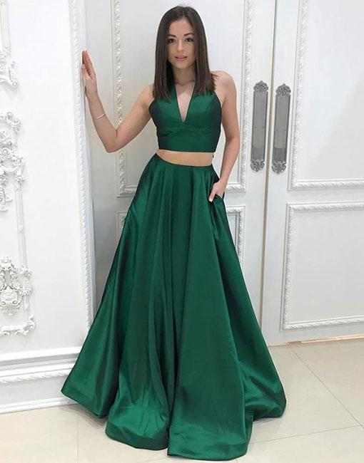141b5d04d73 Simple Two Pieces V-Neck Green Satin Long Prom Dress with Pleats on ...