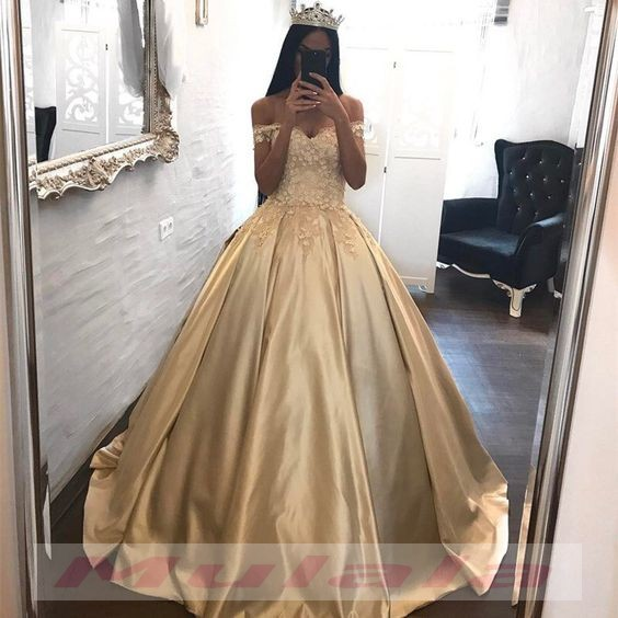 83d1ac23dab Champagne 3D-Floral Appliques Quinceanera Dresses 2019 Off The Shoulder  Corset Ball Gown Sweet 16