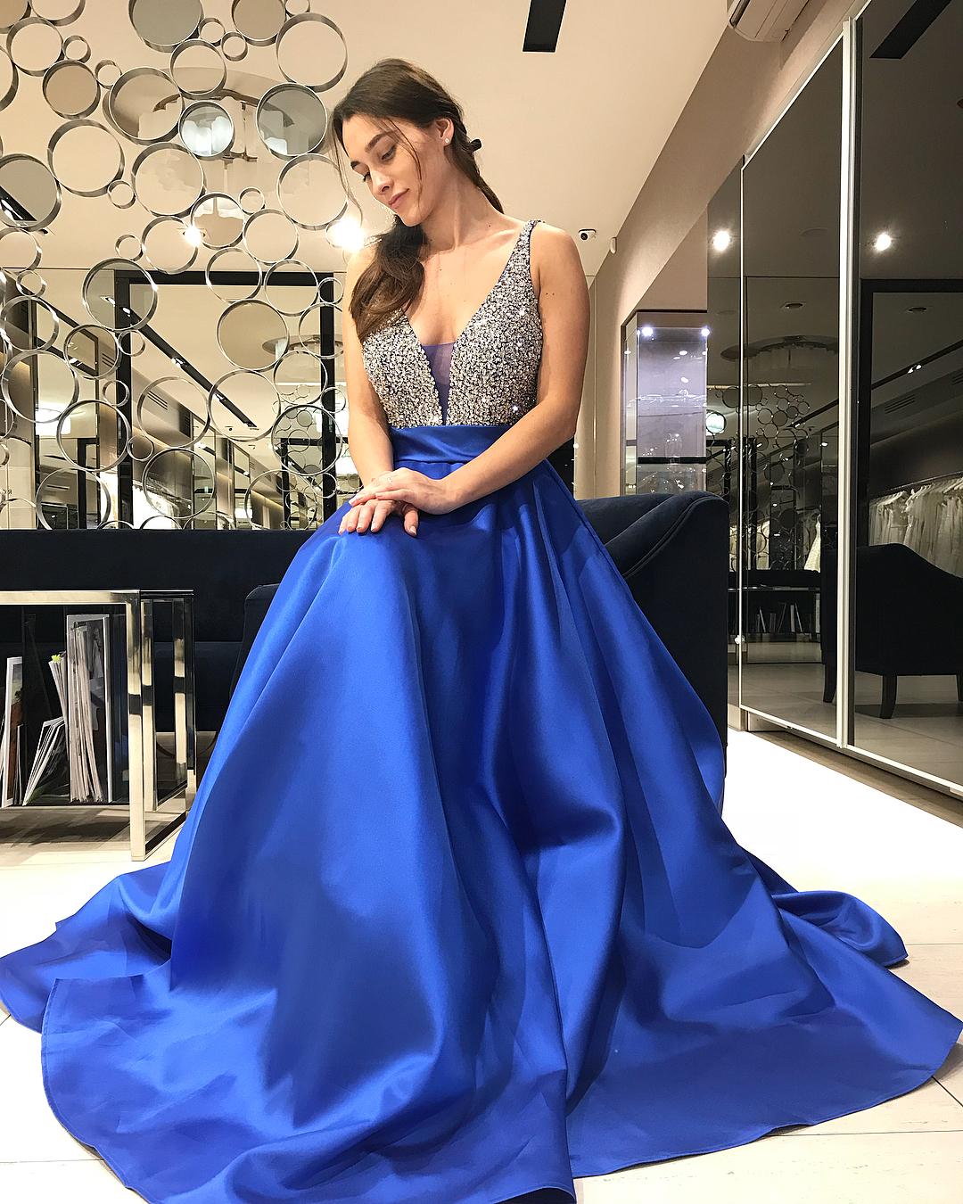 d65c2570b44 Sparkly Sequins Royal Blue Long Prom Dress · modsele · Online Store ...