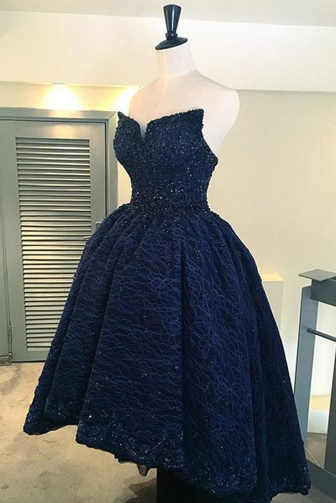 Unique A Line Sweetheart Navy Blue High Low Lace Prom