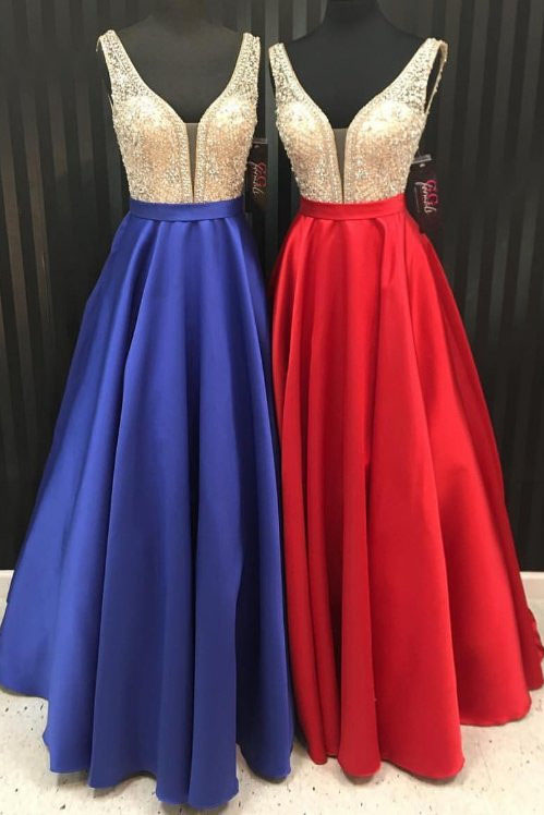 Stunning V Neck A Line Beaded Prom Dress,Senior Formal Gown for ...