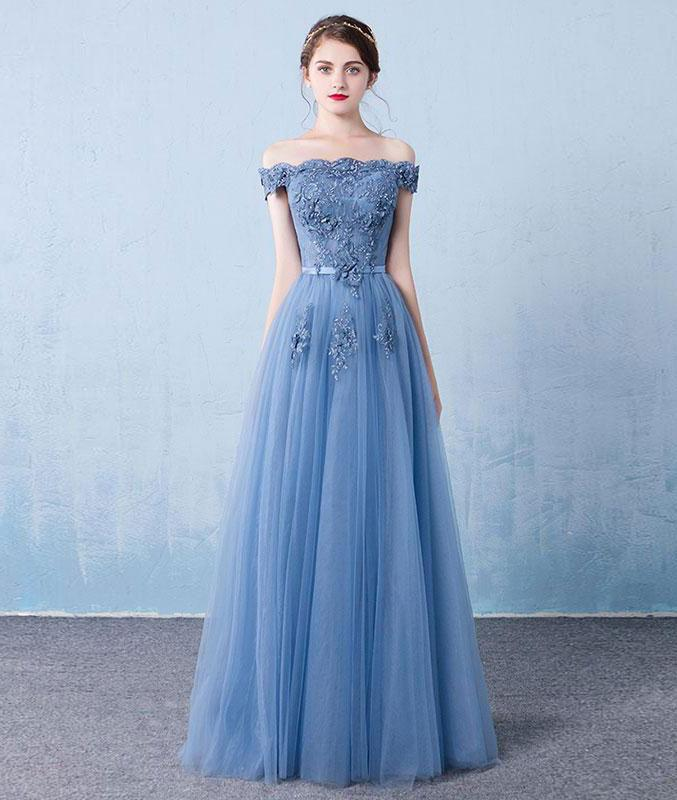 825345114256 Fashion A-Line Off-Shoulder Light Blue Tulle Prom Dress with Flowers and  Sequins on Storenvy