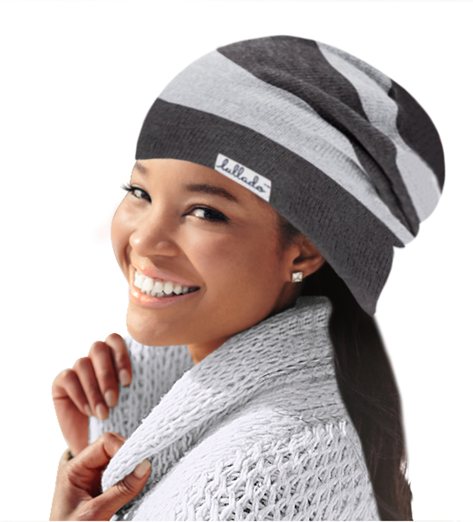 Silk Satin-Lined Slouchy Beanie by LULLADO in  Misty Gray   8e6b6093823