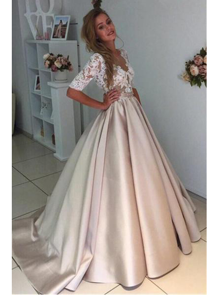 Ball Gown Sexy Prom Dresses Scoop Half Sleeve Short Train ...