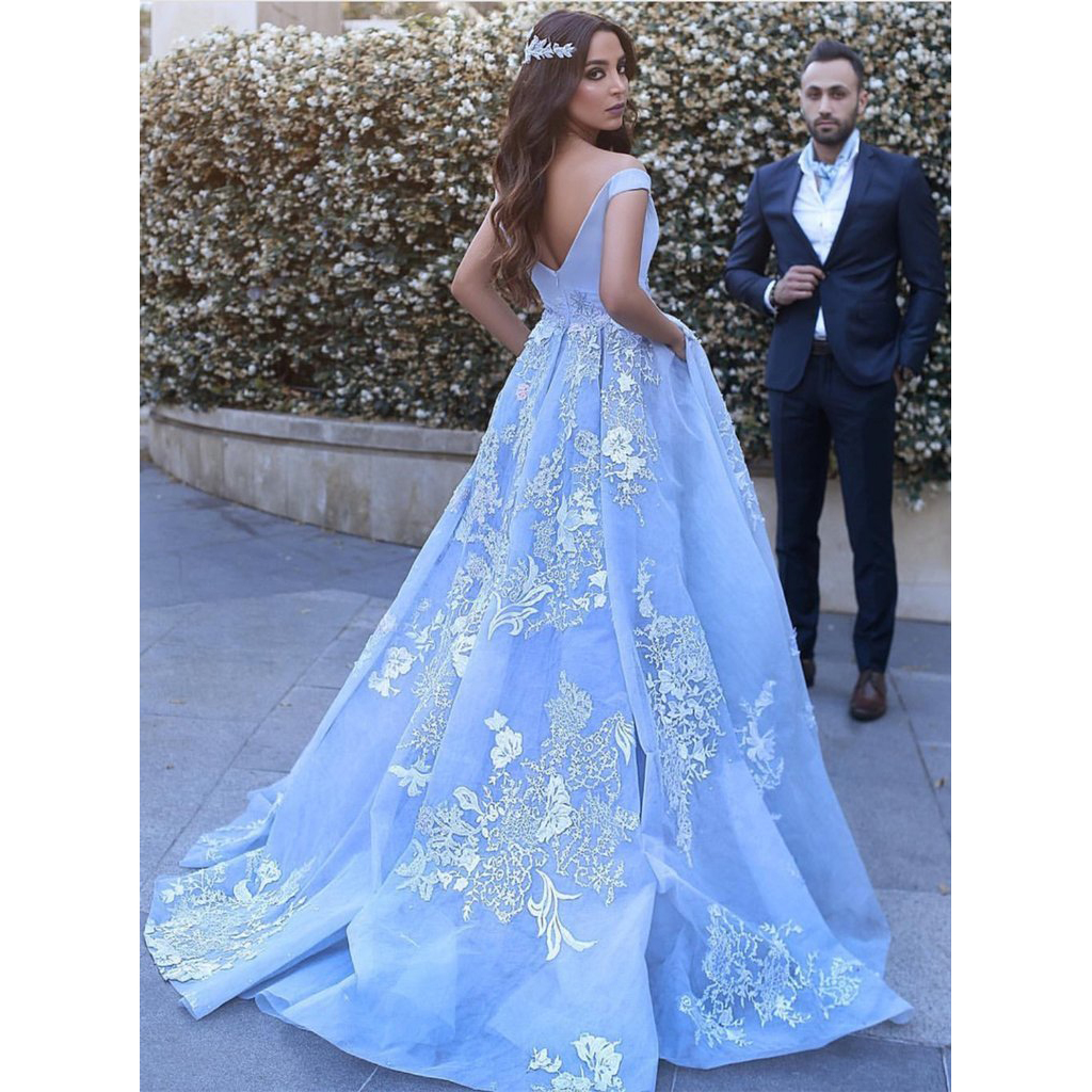 FREE Shipping DHL Gorgeous Light Blue Off The Shoulder Ball Gown Prom Dress 837d84da6