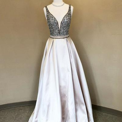 0477c54cc4 Stylish a-line deep v-neck light champagne long prom evening dress with
