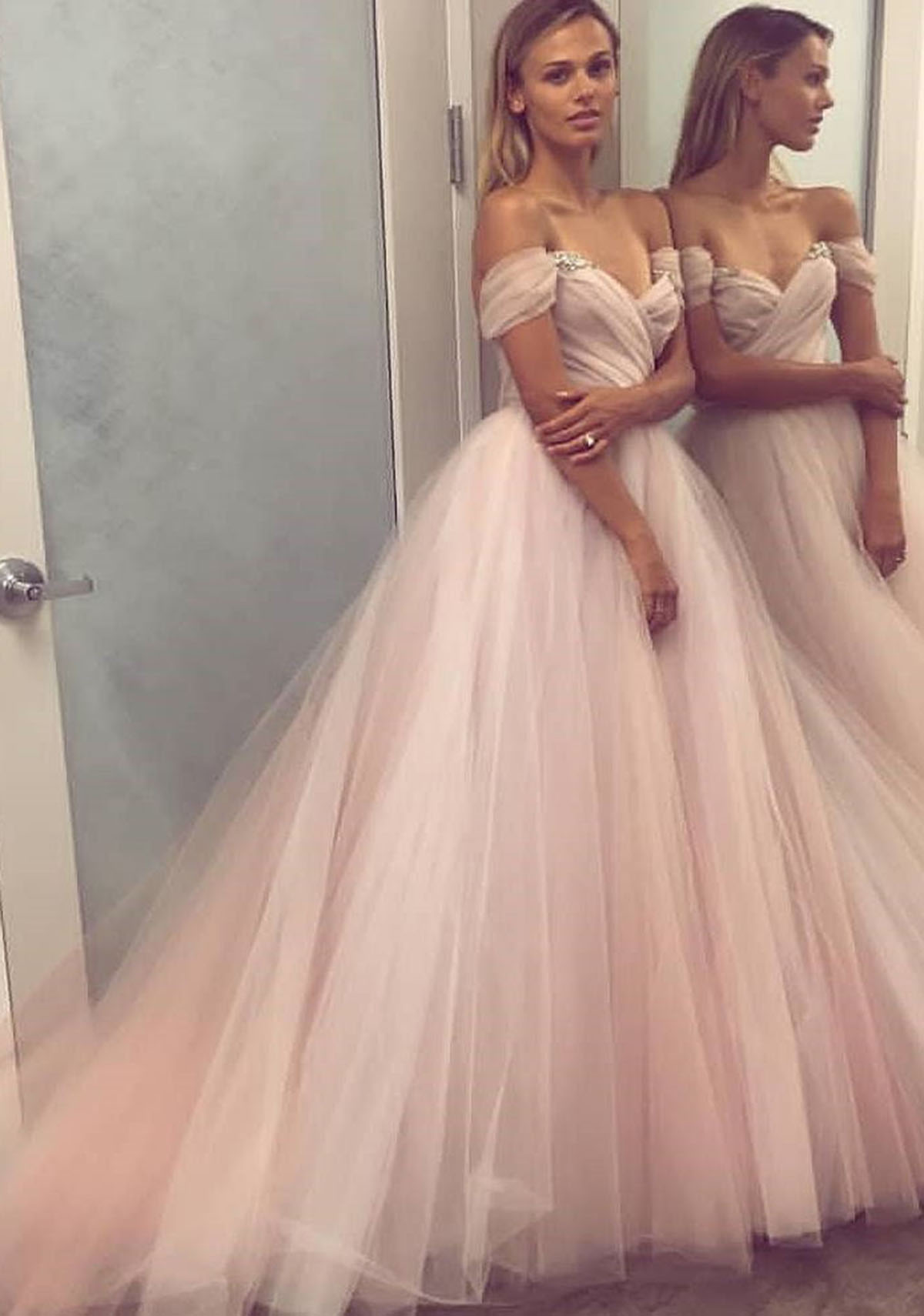 809ad93000c Blush pink off shoulder long tulle A-line winter formal prom dress with  beading