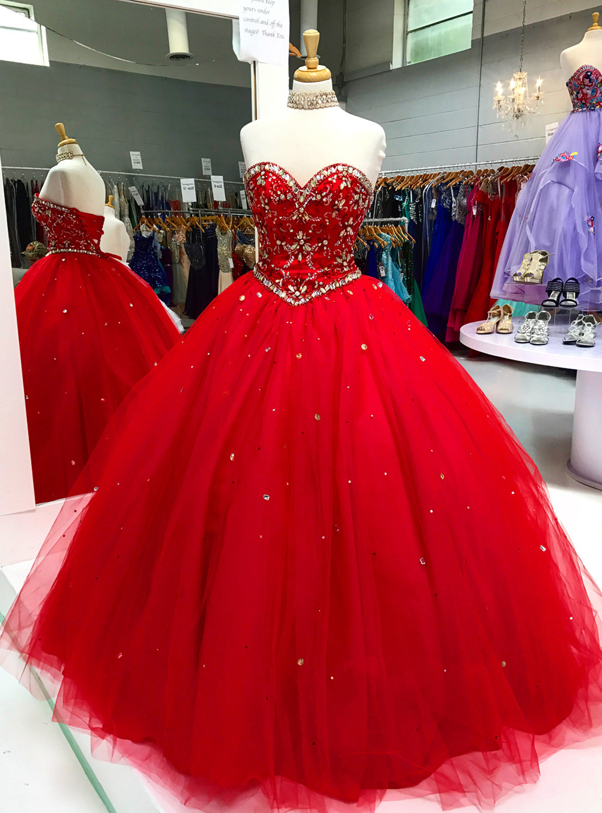 b803b84330 Red organza rhinestone long ball gown, long crystal long evening dress from  Sweetheart Dress