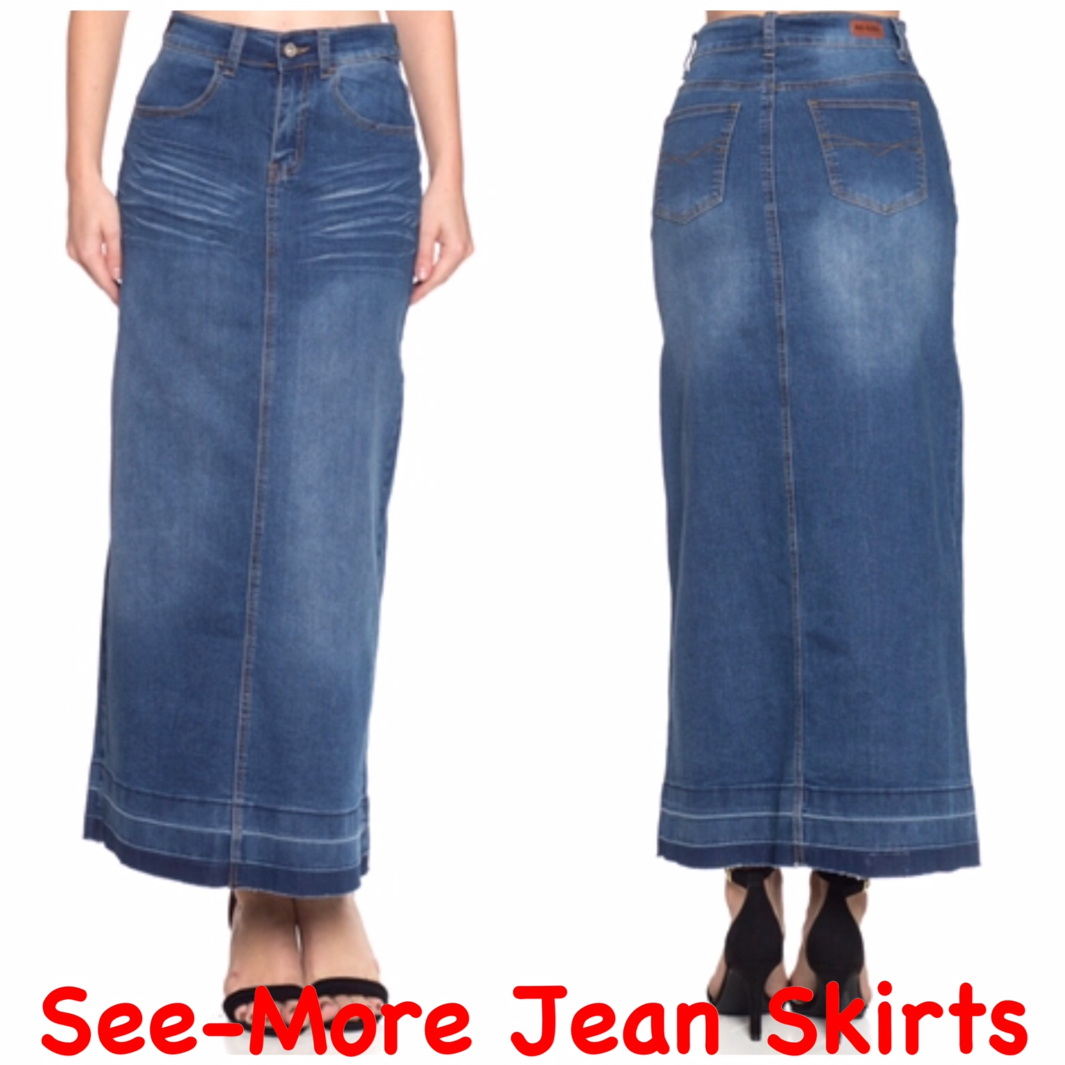 4277cc4524 SHILOH LONG FADED WASH DENIM JEAN SKIRT · See-More Jean Skirts ...