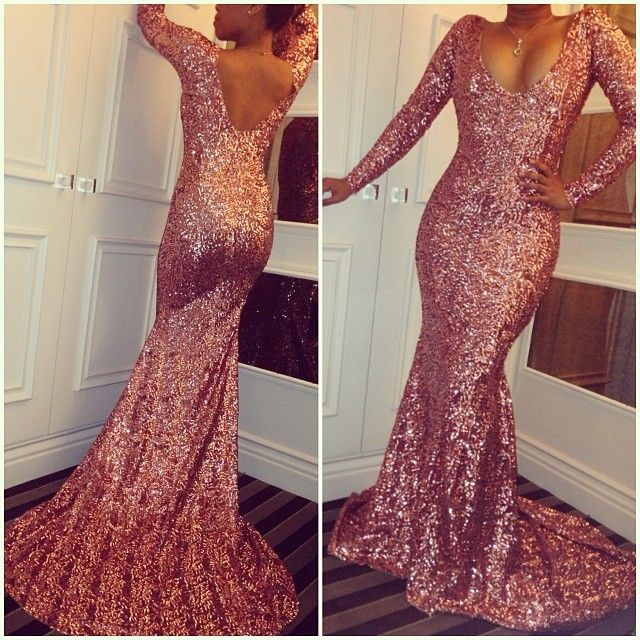 5cad6c44f40 Sexy Long-Sleeves Simple Mermaid Sequined Prom Dresses · MychicDress ...