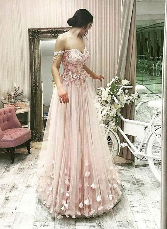 Stylish A-Line Off-Shoulder Pink Tulle Long Prom Evening Dress with  Appliques ... 314412202