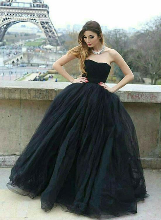 c4ee253b8da Noble Ball Gown Strapless Black Tulle Long Prom Evening Dress with Pleats