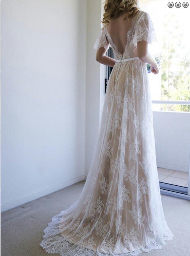 A-Line V-Neck Sweep Train Light Champagne Lace Boho Wedding Dress ...