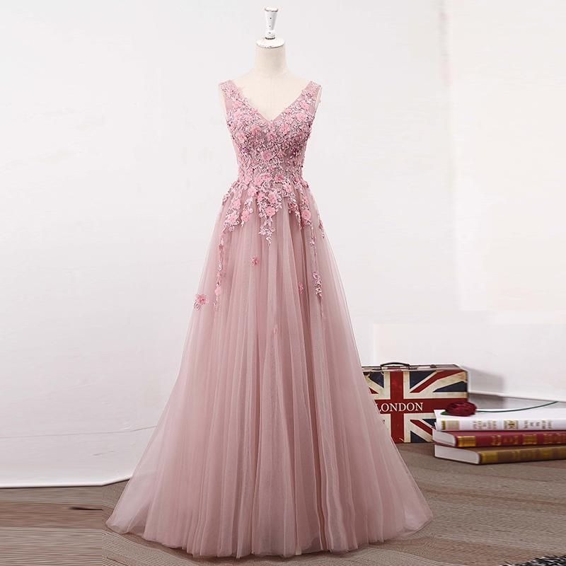 d9e69a3521 Blush Pink V-Neck Applique Lace Prom Dress