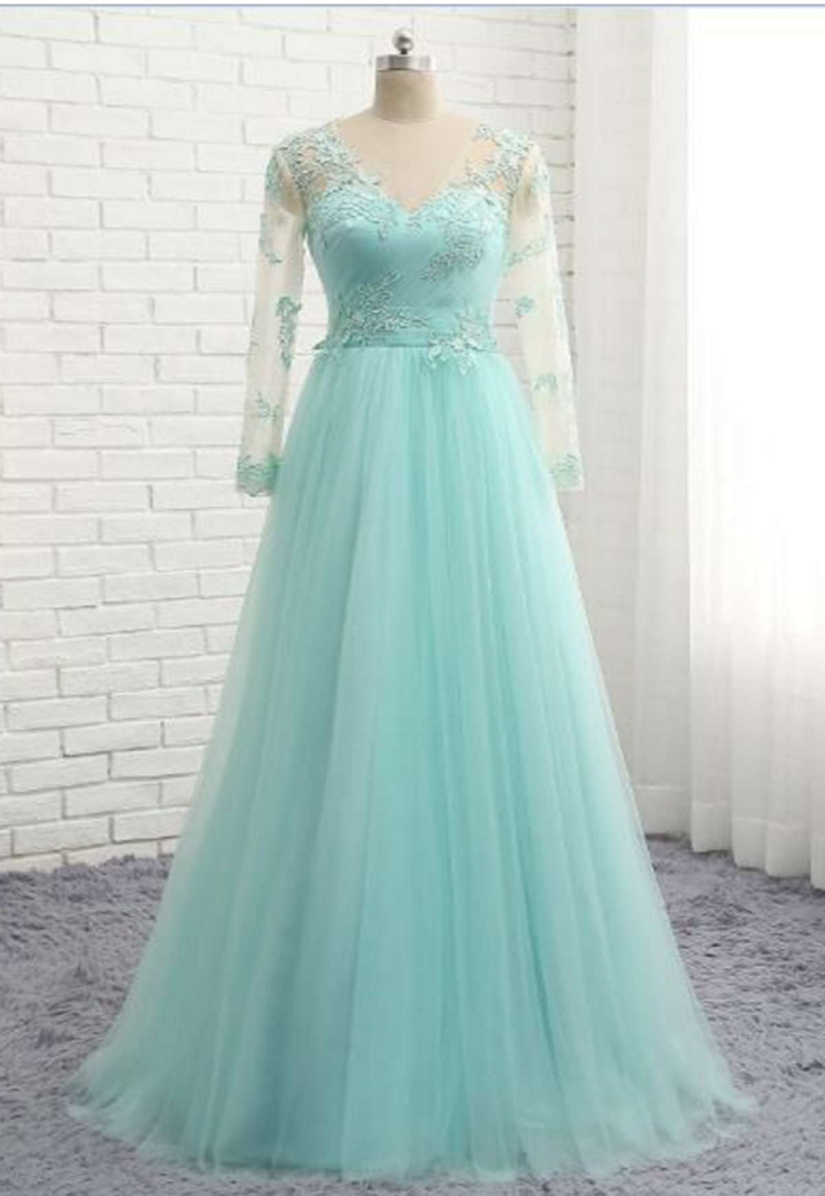 Mint tulle simple V neck plus size formal prom dress with long ...