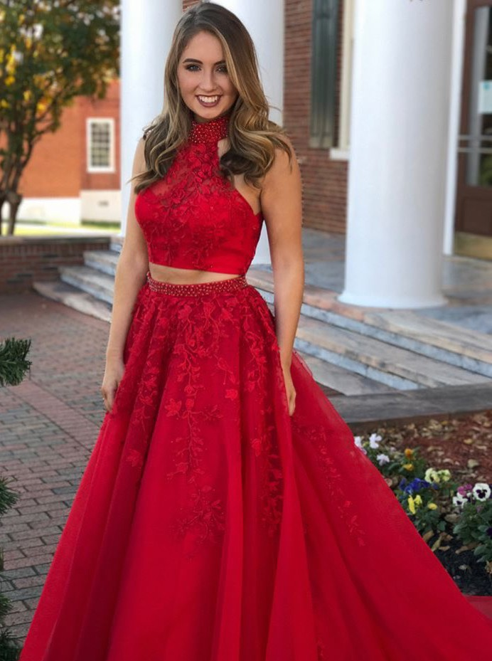 fb1501545a3 Charming Two Piece High Neck Open Back Beaded Lace Long Red Prom Dress on  Storenvy