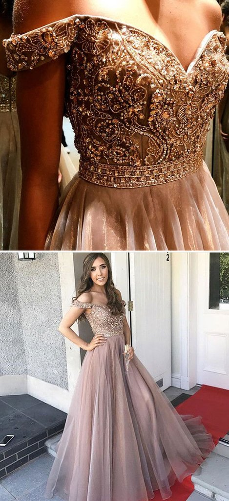 b232348f7240 ... Luxurious Mermaid Bateau/Off-Shoulder Champagne Tulle Long Prom Dress  with Beading - Thumbnail ...
