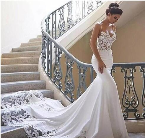 acb44152bc9 2018 Spaghetti Strap Mermaid Wedding Dresses Illusion Backless ...