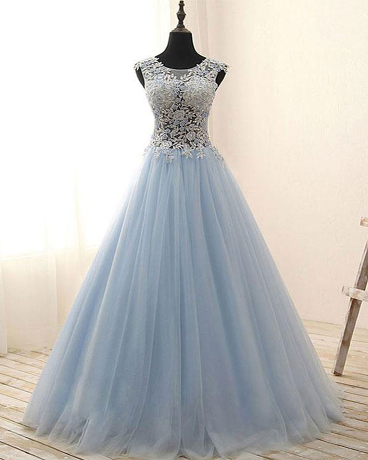 20b85eee46aa Elegant light blue tulle see through long A-line halter evening dress,  flower lace