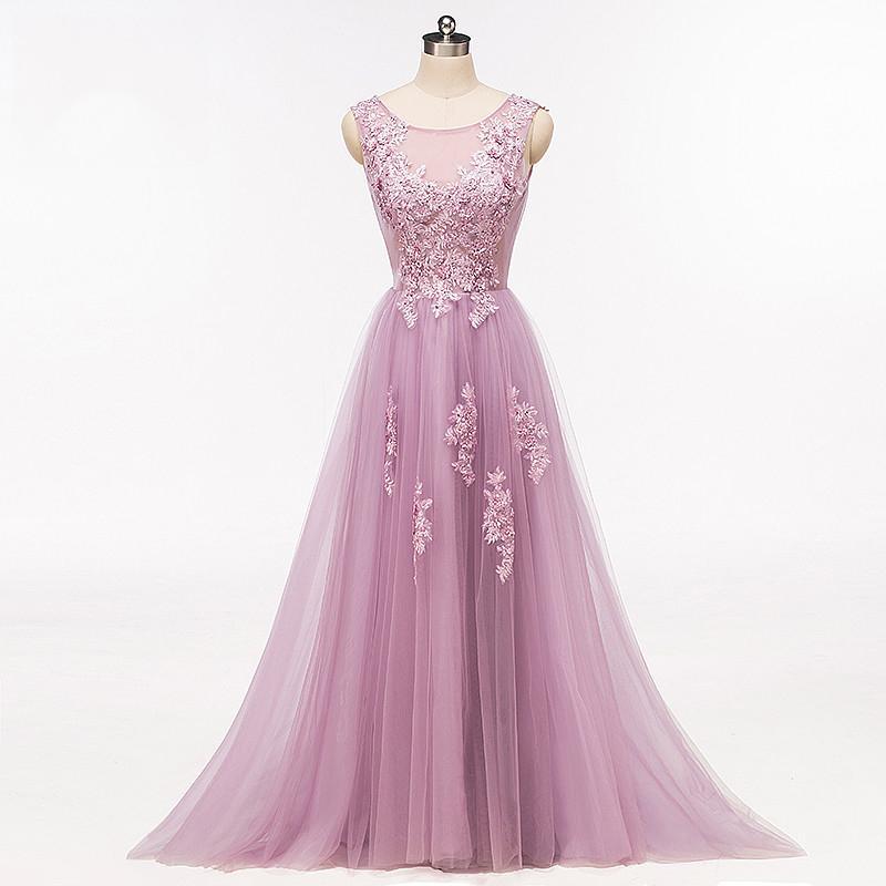 e61785cae20 Purple Scoop Neckline Tulle Skirt Long Evening Prom Dresses