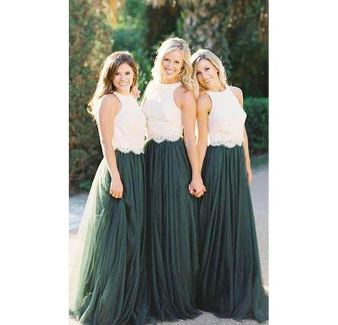 dac0bcf70 White And Hunter Green Two Pieces Bridesmaid Dresses 2018 Crop Top Lace Floor  Long Summer Boho