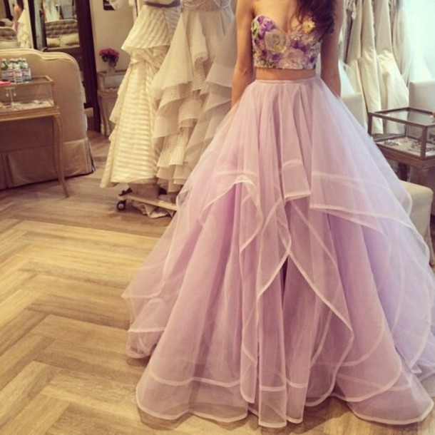Romantic Two Piece Sweetheart Ruffled Light Lavender Tulle Prom ...