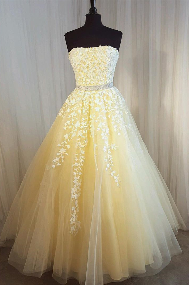 New Arrival Strapless Yellow Appliques Tulle Prom Dress
