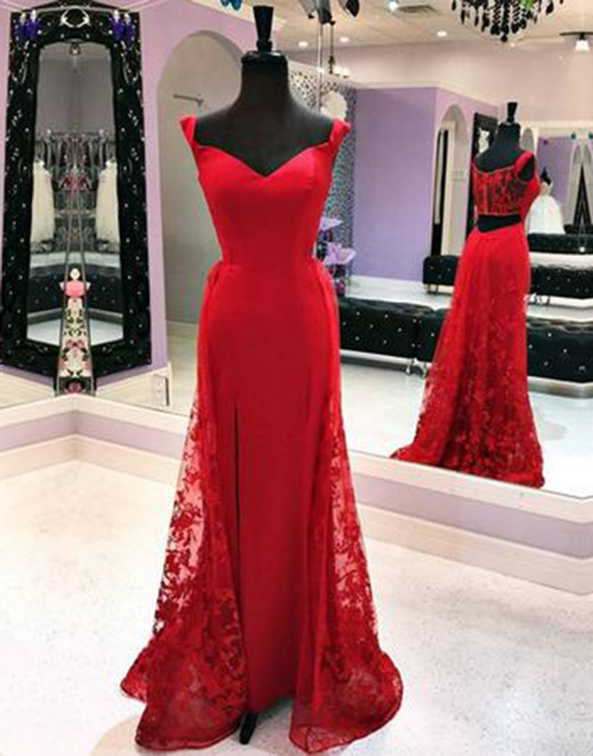 c6d2240ea42 Cheap Prom Dresses by SweetheartDress · Red lace sweetheart long A ...