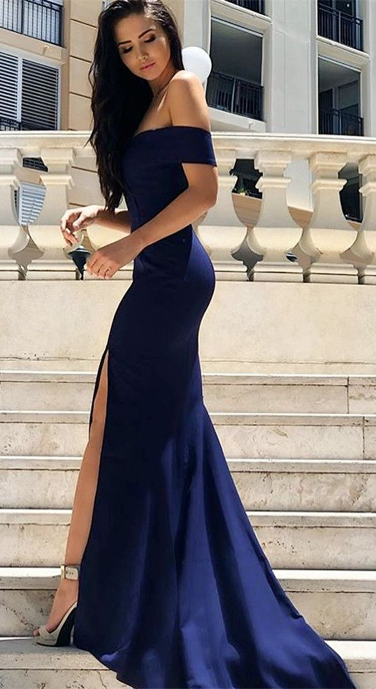 1ff8317fb920 Off Shoulder Mermaid Prom Dress, Sexy Prom Dresses with Slit, Long ...