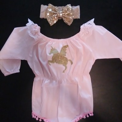 608c5c39c Gold unicorn romper, glitter unicorn romper,pink romper,pom pom romper,baby