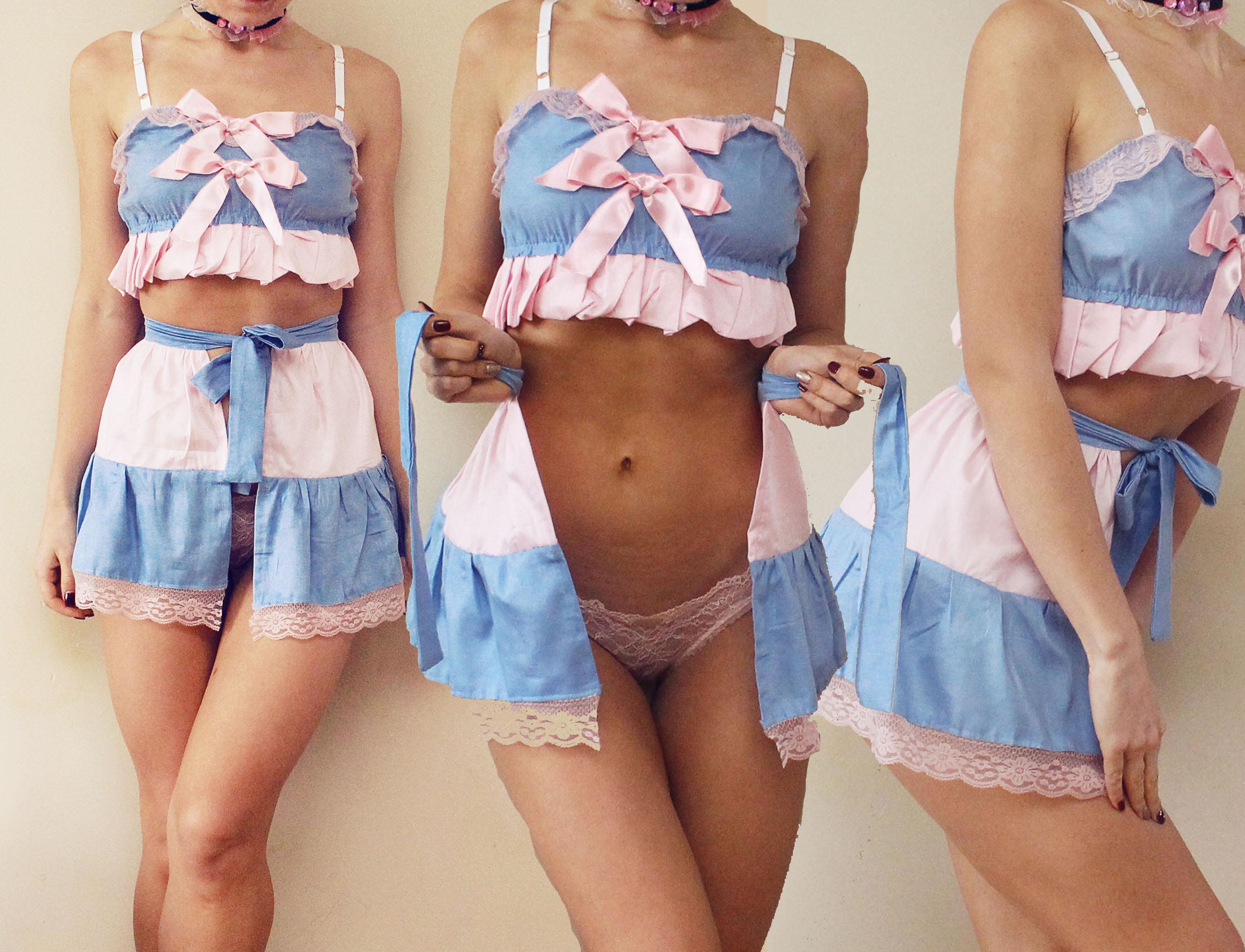 2f62e53b90 Milkshake   Baby blue and pink cotton satin lingerie set   erotic lingerie  ddlg lingerie lolitta kawaii   Made to order on Storenvy