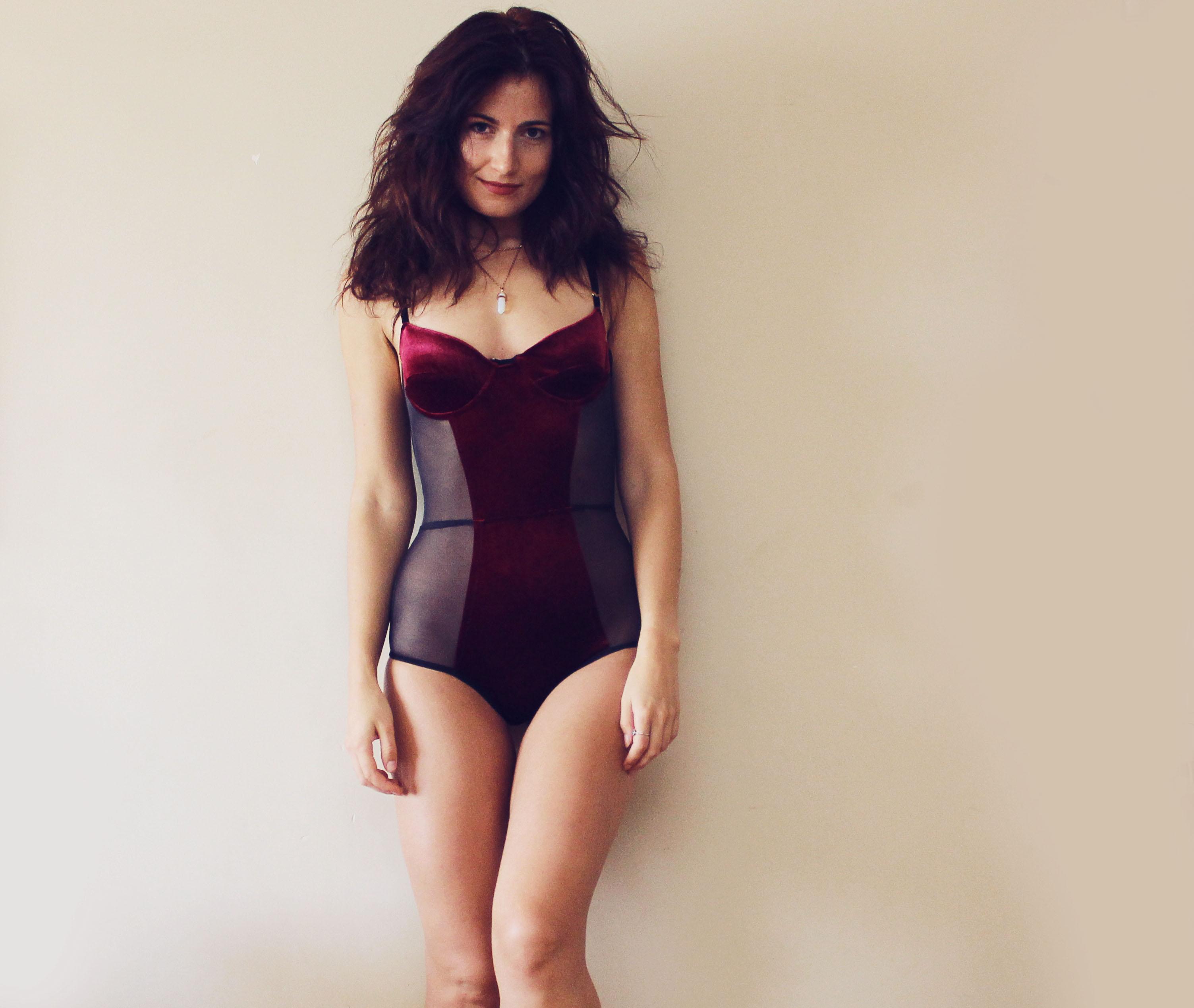 f8f31b59fe GLORY   Burgundy and black mesh padded bodysuit   sexy lingerie ...